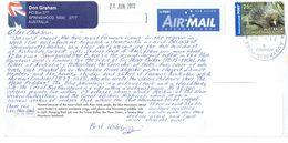 29K : Australia Short Beaked Echidna Animal Stamp Used On Postcard - 2010-... Elizabeth II