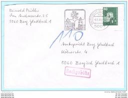 BUND BRD FRG GERMANY - Brief Cover Lettre Nachgebühr --- 5060 Bergisch Gladbach   (8865) - Brieven