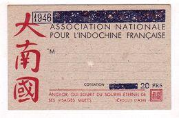 INDOCHINE CARTE ASSOCIATION NATIONALE POUR L'INDOCHINE FRANCAISE DE 20 FRANCS 1946 NEUF - Indochine