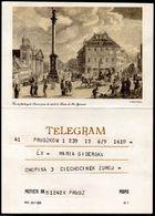 POLAND 1969 TELEGRAM SPECIAL OCCASION VIEW OLD WARSAW WARSZAWA ARTIST DIETRICH USED LX 1 TÉLÉGRAMME TELEGRAMM TELEGRAMA - 1944-.... Republic