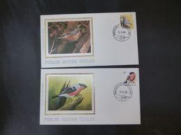 """BELG.1988 2294 & 2295 FDC's Zijde/soie (Bruxs):  Buzin """" Vogels/ Des Oiseaux 5F & 6F"""" - FDC"""