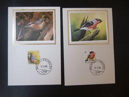 """BELG.1988 2294 & 2295 Mcards Zijde/soie (Bruxs):  Buzin """" Vogels/ Des Oiseaux 5F & 6F"""" - FDC"""