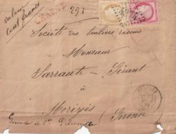 ETAULES. LETTRE CHARGEE GC 4374 + CACHET TYPE 17  AVRIL 1875 - 1849-1876: Klassik