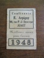 Oude Kalender  1948 Avec Principaux Tarifs  Postaux   Confiserie  JUMET - Kalenders