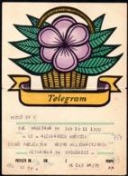 POLAND 1970 BASKET WITH STYLIZED PURPLE FLOWER USED LX 10 TÉLÉGRAMME TELEGRAMM TELEGRAMA TELEGRAMMA PLANT - 1944-.... Republic