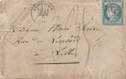 L'ISLE D'AIX - GC 1833 + CACHET TYPE 16 + TAXE 0,35 ET CACHET ROUGE AFFRANCHISSEMENT INSUFFISANT-1872 - Marcophilie (Lettres)