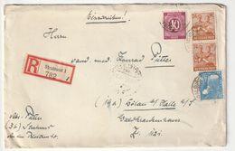Alliierte Gemeinschaftsausgaben Michel 929, 950, 951 (x2), Einschreiben MiF 1947 Von Stralsund Nach Dölau, 4 Scans - Gemeinschaftsausgaben