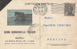 Napoli. 1930. Anullo Meccanico Su Cartolina Postale PUBBLICITARIA ... DISMA GAMBARDELLA TEDESCO... BELLA - Marcofilía
