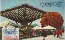 Carte Maximum CANADA N° Yvert 390 (EXPO 67) Obl Sp Montréal Service Public 12.8.67 (Ed Plastichrome 201) - Maximumkaarten