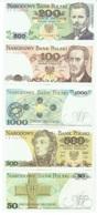 Pologne. Polski. Lot De 5 Billets De 50/100/200/500/1000 Zlotych - Pologne