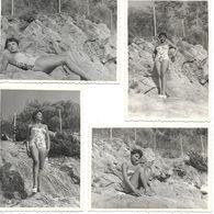 Var, Le Lavandou, Femme, Maillot De Bains, Vacances, Lot De 4 Photos, 1955       (bon Etat)  Dim : 10 X 7. - Orte