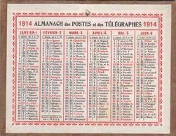 Calendrier Année De GUERRE 1914 Petit Format - Calendriers