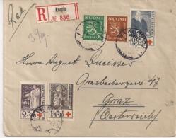 1933-REGISTRED AIR MAIL-KUOPIO 1933 TO GRAZ AUSTRIA -NR 182(2X)-183 LAPE-RED CROSS - Finlande