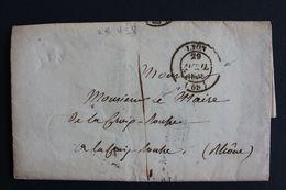 1838 RARE LAC LYON CAD 29/04/1838 POUR LE MAIRE  DE LA CROIX-ROUSSE ENCORE COMMUNE A L EPOQUE ,TAXE MANUSCRITE. - Marcophilie (Lettres)