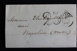 1854 LAC,NANTES POUR NAPOLEON- VENDEE TAXE TAMPON 25 CENTIMES. - 1849-1876: Klassik