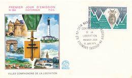 FRANCE - ENVELOPPE COMPAGNONS DE LA LIBERATION VASSIEUX EN VERCORS 15 JUIN 1974 GRENOBLE ILE DE SEIN NANTES PARIS - Seconda Guerra Mondiale