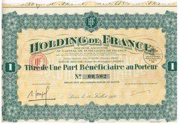 Titre Ancien - Holding De France - Société Anonyme - Titre De 1930 - - Banque & Assurance