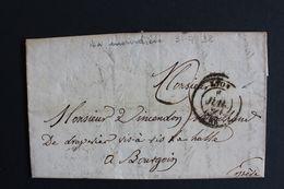 1838,LAC LYON CAD 5/7/1838 POUR BOURGOIN CAD ARRIVEE DU 06/07/1838 TAXE MANUSCRITE .. - 1801-1848: Precursores XIX