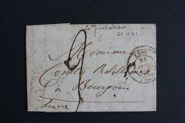 1841,LAC LYON CAD 23/01/1841 POUR BOURGOIN CAD ARRIVEE DU 23/01/1841 TYPE 12 TAXE MANUSCRITE .. - 1801-1848: Precursores XIX