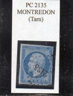 Tarn - N° 14A S/azuré Obl PC 2135 Montredon - 1853-1860 Napoléon III