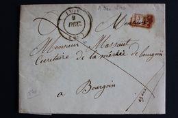 1840,LAC LYON CAD 09/12/1840 POUR BOURGOIN  CAD ARRIVEE TYPE 12 DU 09/12/1840 MARQUE ROUGE DU PORT PAYE... - 1801-1848: Precursores XIX