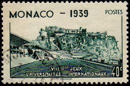 Monaco Obl. N°  195 - Le Rocher Et Stade Louis II - 40c Vert-bleu - Oblitérés