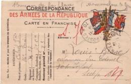 FRANCE : 1915 - Carte En Franchise - Correspondance Des Armées De La République - Postmark Collection (Covers)