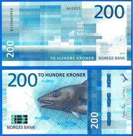 Norvege 200 Couronnes 2016 NEUF Norway Que Prix + Port Saumon Poisson Salmon Fish Banknote Paypal Bitcoin OK - Noorwegen