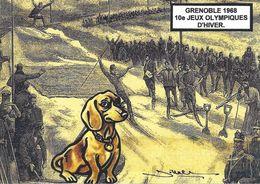 CPM Grenoble Jeux Olympiques 1968 Tirage Limité En 30 Exemplaires Numérotés Signés Ski Teckel Dackel Dachshund - Olympic Games