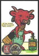 CPM Timbre Monnaie Tirage Limité Numéroté Et Signé En 30 Exemplaires La Vache Qui Rit Absinthe - Monnaies (représentations)