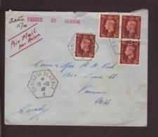 """Lettre Par Avion Obl. """"Croiseur Algérie"""" 18.10.1939 Affr Timbre Britannique > Vancouver - Zensur/Censored/Censure Passed - Marcophilie (Lettres)"""