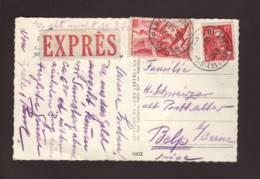 Carte à Vue  En Exprès  Aff 50f PA Iris Et 15f M De Gandon Obl. Paris 81 20.05.19.49 -> Belp - Marcophilie (Lettres)