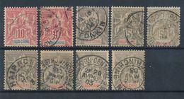 INDOCHINE - N° 17X2+19X6+21 OBLITERES - 1900 - Oblitérés