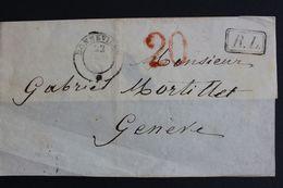 1851 DEVANT DE LETTRE CAD BONNEVILLE 22/12/1851 POUR GENEVE TAXE TAMPON ROUGE 20C MARQUE R.L CAD GENEVE ARRIVE 22/12/51 - Marcophilie (Lettres)