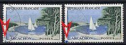 FRANCE 1961: Le Y&T 1312,  Obl. CAD , Variété ''tache Bleue  Dans Le Coin SO'' Pour Les 2  TP - Errors & Oddities