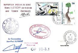 Marion Dufresne FSAT TAAF. 15.01.93 SPA Pli Senat Rapporteur Goetschy. Au Dos Cachet Cheshire - Brieven En Documenten