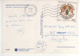 """Beau Timbre , Stamp Yvert N° 592 """" Journée Mondiale De L'alimentation """" Sur CP , Carte Photo, Postcard Du 11/03/82 - Côte D'Ivoire (1960-...)"""