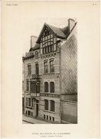 Architecture C1910 - 4 Planches VERS L'ART - Hôtel 33 Rue Renkin Schaerbeek - Architecte F. Van Ophem - Détails/plans - - Arquitectura
