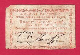 ASSIGNAT BILLET DE CONFIANCE DE 10 SOUS N°76491 COMMUNE DE BOURG DU PÉAGE DISTRICT DE ROMANS DRÔME Serbon63 - Assegnati