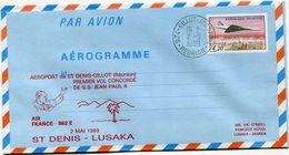 "AEROGRAMME CONCORDE AVEC CACHET ILLUSTRE ""AEROPORT DE ST DENIS-GILLOT (REUNION) PREMIER VOL CONCORDE DE S.S.JEAN PAUL II - Concorde"