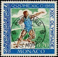 Monaco Obl. N°  736 Jeux Olympiques MEXICO - Lancer De Poids - Monaco