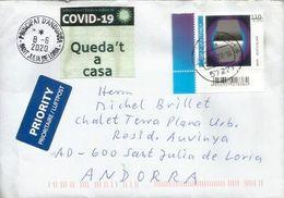 Brief Aus Nordrhein-Westfalen, Nach Andorra Geschickt, Mit COVID 19-Aufkleber STAY AT HOME In Katalanischer Sprache - Variétés