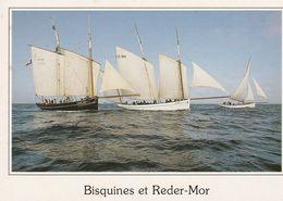 BISQUINES EN REGATE - GRANVILLE (50) 2 Cartes Et Avec Le REDER-MOR - Barfleur