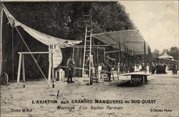 Cp L'Aviation Aux Grandes Manoeuvres Du Sud Ouest, Montage D'un Biplan Farman - Non Classés