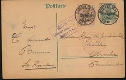 LE ROEULX BRASSEUR C.HUART  NAAR ASSE  VAN GINDERACHTER  DUITSE STEMPEL 1917   - 2 SCANS - Asse