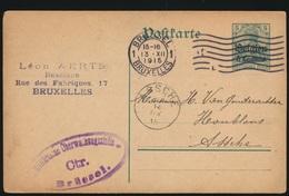 LEON AERTS BRASSEUR  BRUX    NAAR ASSE  VAN GINDERACHTER  DUITSE STEMPEL 1915   - 2 SCANS - Asse