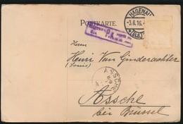 HAGENAU DUITSLAND NAAR ASSE  VAN GINDERACHTER  DUITSE STEMPEL 1916   - 2 SCANS - Asse