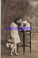 135130 REAL PHOTO COSTUMES GIRL WITH BASKET AND DOG POSTAL POSTCARD - Photographs