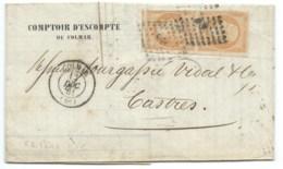 PAIRE VERTICALE N° 16 ORANGE NAPOLEON SUR LETTRE / COLMAR POUR CASTRES / 12 DEC 1861 - 1849-1876: Classic Period