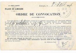 LIMOGES (87) MILITARIA Caserne Beaupuy Carte De Convocation Devant Médecin Militaire Cachet Mlitaire - Limoges